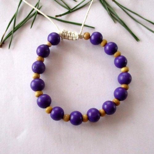Bracelet en perles rondes en bois mauve