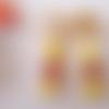 Clips boucles d'oreilles mélange d'opaque jaune et jade grenat