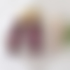 Clips boucles d'oreilles cube entouré de billes de couleur prune