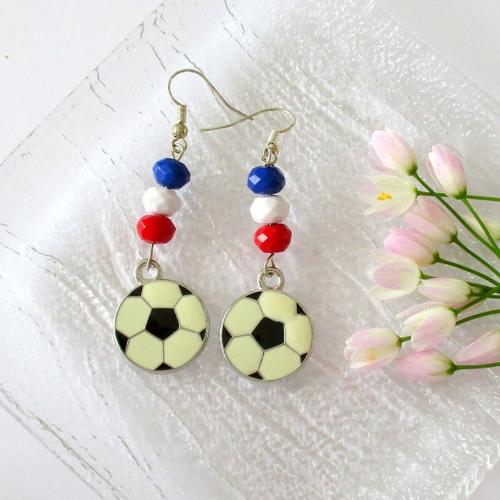 Boucles d'oreilles pour les supporter de foot bleu blanc rouge, allez les bleus ! - crochet en acier chirurgical