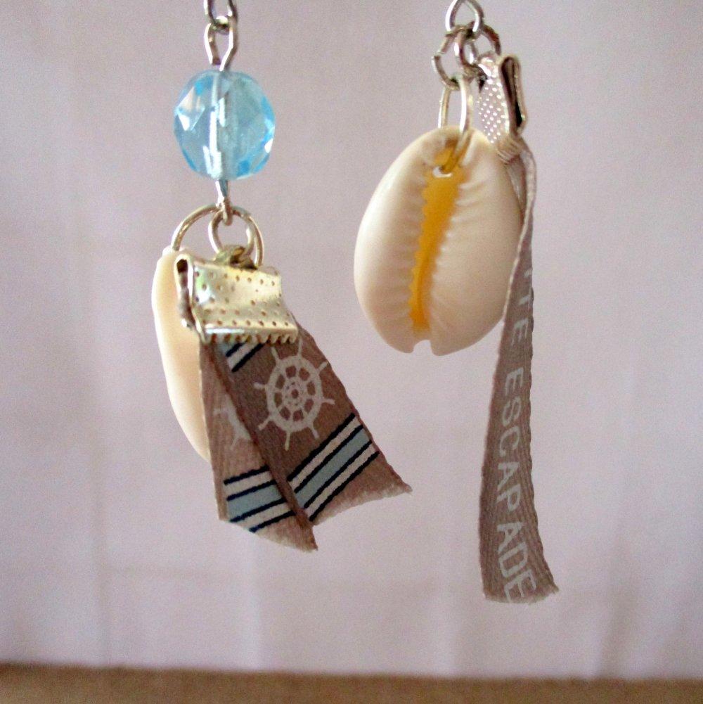 Boucles d'oreilles les coquillages font une petite escapade - Crochet en acier inoxydable