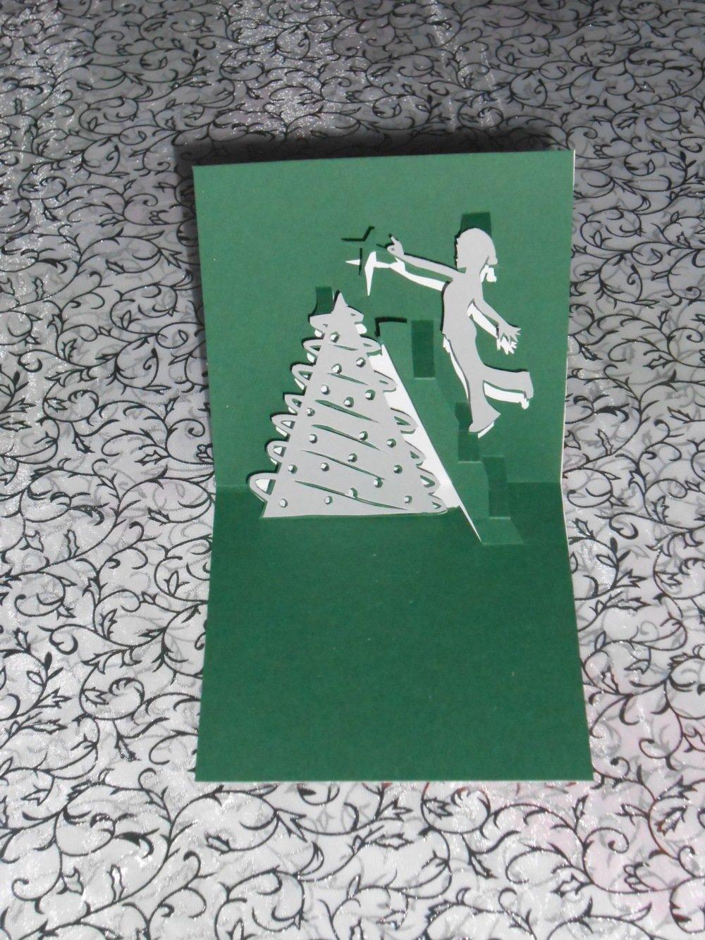 """carte kirigami noël: """"c'est l'heure de décoré le sapin"""""""