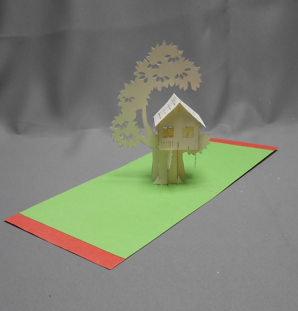 """carte kirigami architecture: """"ma cabane dans les arbres"""""""