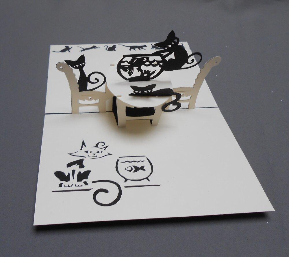 "carte kirigami animaux: ""les chats sont à table"""
