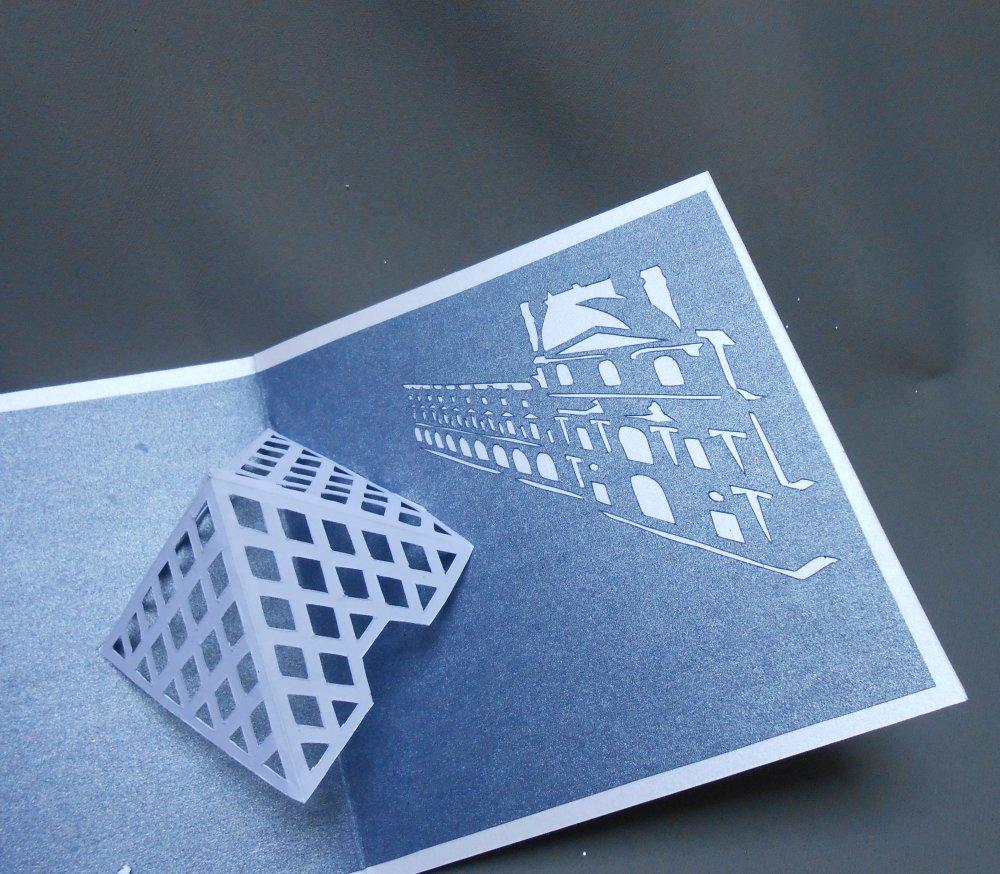 """carte kirigami architecture: """"le musée du Louvre"""""""