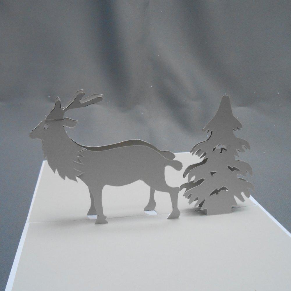 """carte kirigami noël: """"le renne et son sapin"""""""
