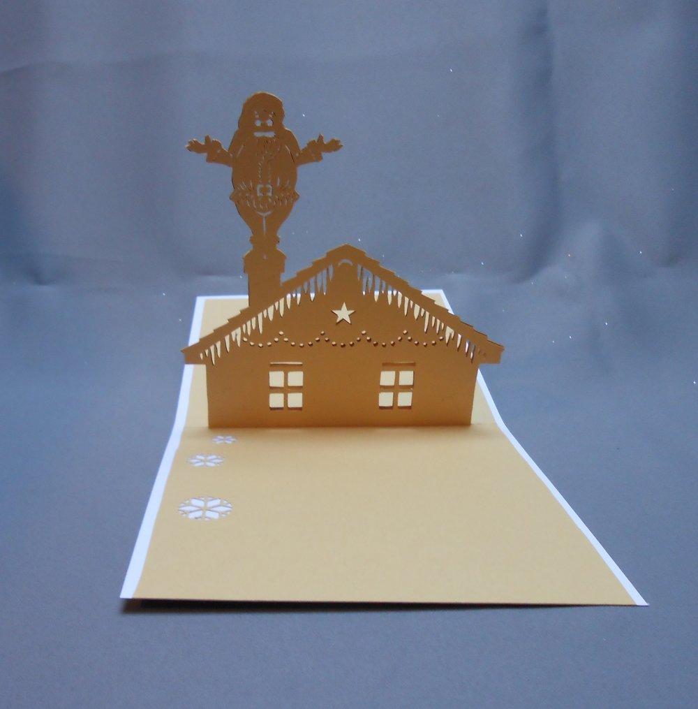 """carte kirigami noël: """"le père-noël dans la cheminée"""""""