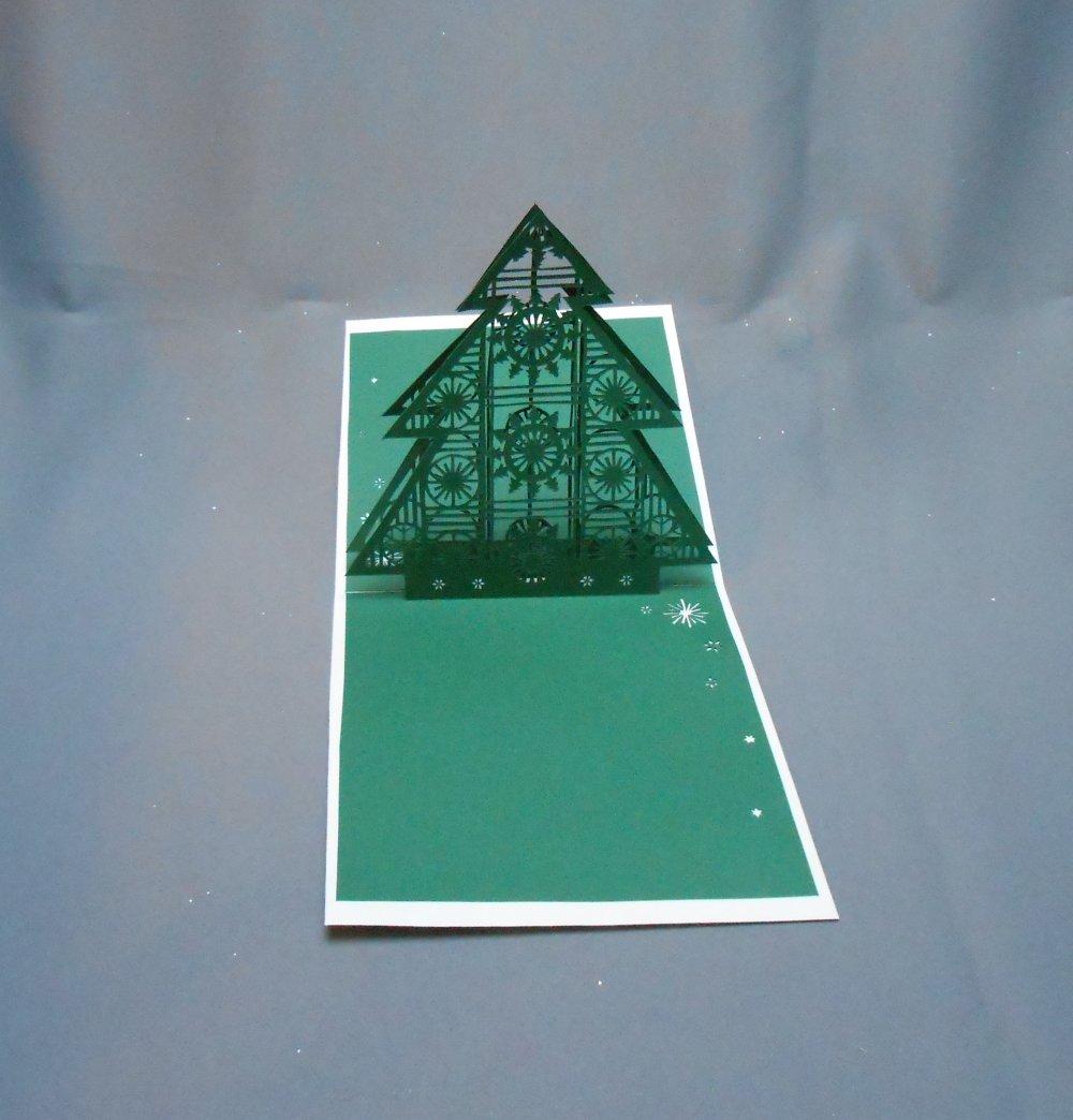 """carte kirigami noel: """"le sapin géométrique"""""""