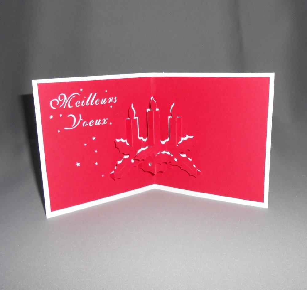 """carte kirigami noël: """"meilleurs voeux les bougies"""""""