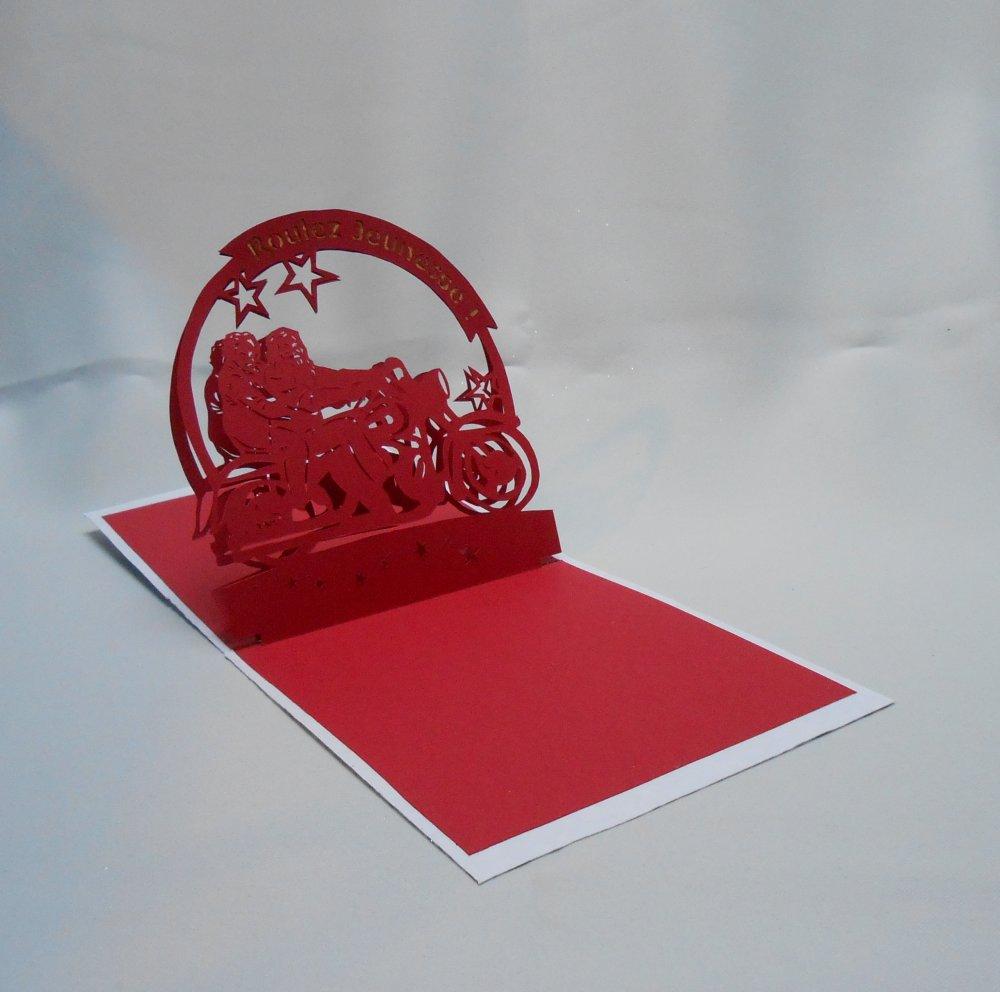 """carte kirigami noël: """"roulez jeunesse"""""""