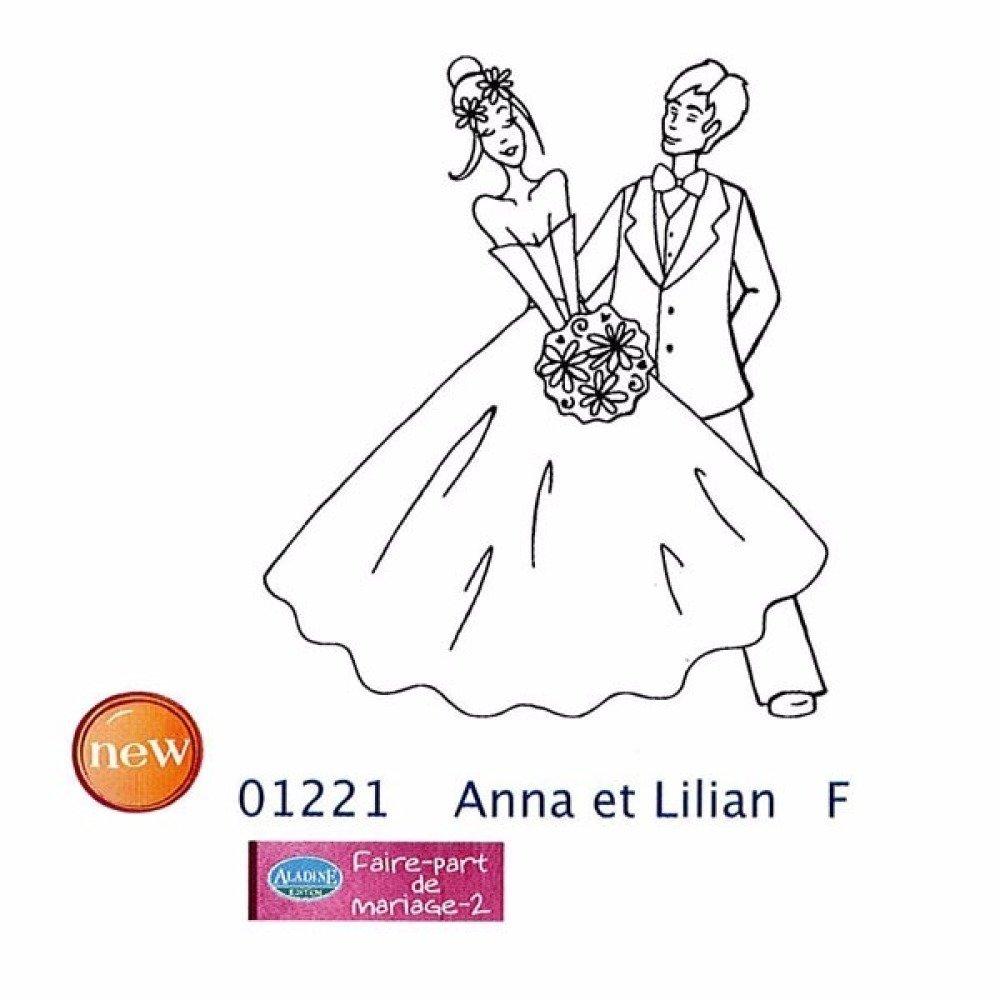 Tampon en bois - Anna et Lilian - mariage - marque Aladine
