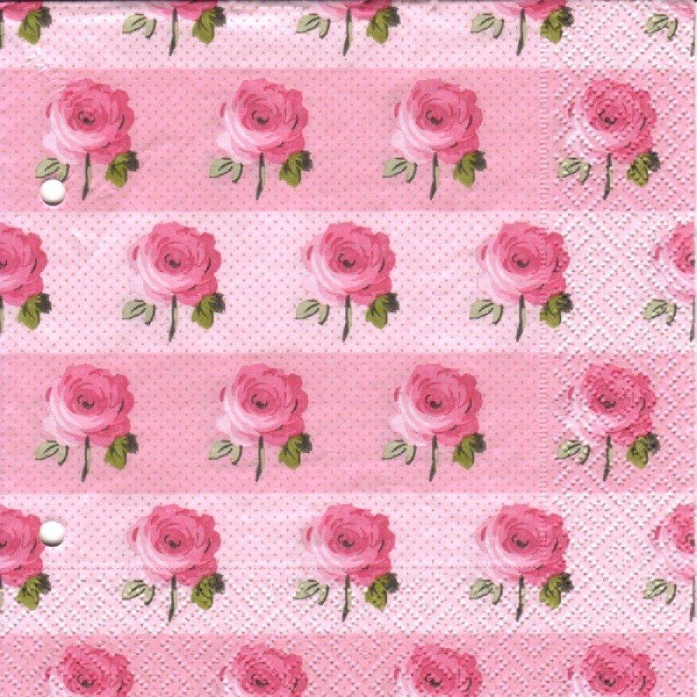 Lot 20 Serviettes - Roses - Fleurs roses sur fond rose