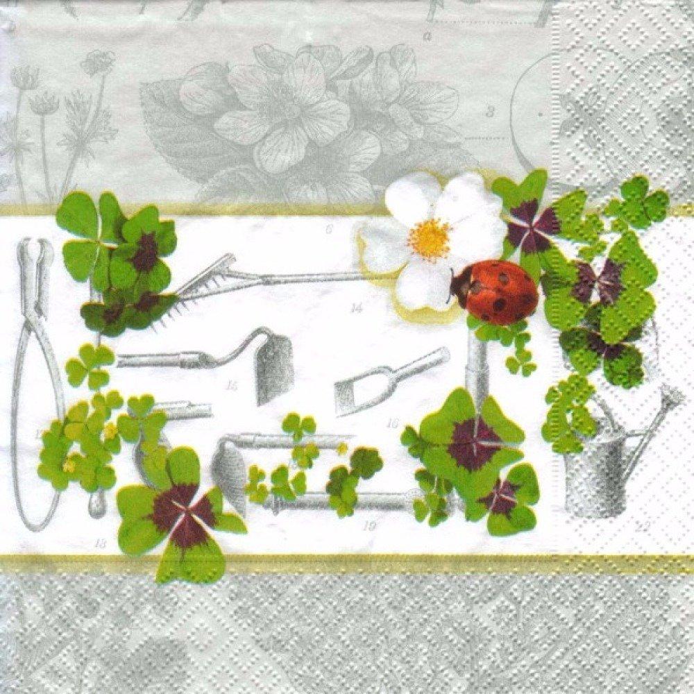 Les Outils De Jardinage Avec Photos lot 20 serviettes - trèfles et coccinelles avec outils de jardin