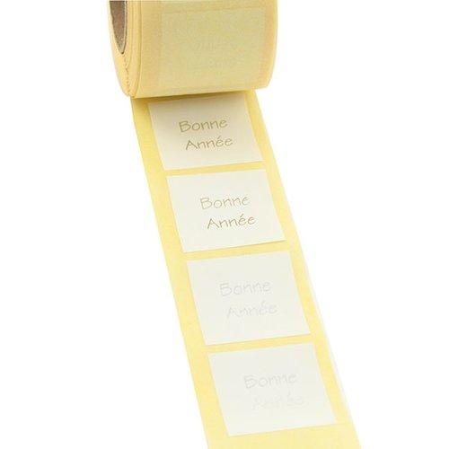 500 étiquettes cadeau autocollantes blanches 3x3cm bonne annee