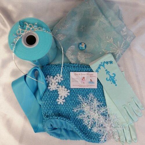 Kit Complet Pour La Robe Reine Des Neiges Creer Son Tutu Tulle Bustier Stretch Voile Ruban Gants Un Grand Marche