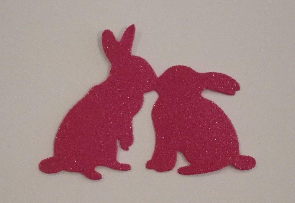 n°193 découpe de deux lapins en papier peint fuchsia pailleté