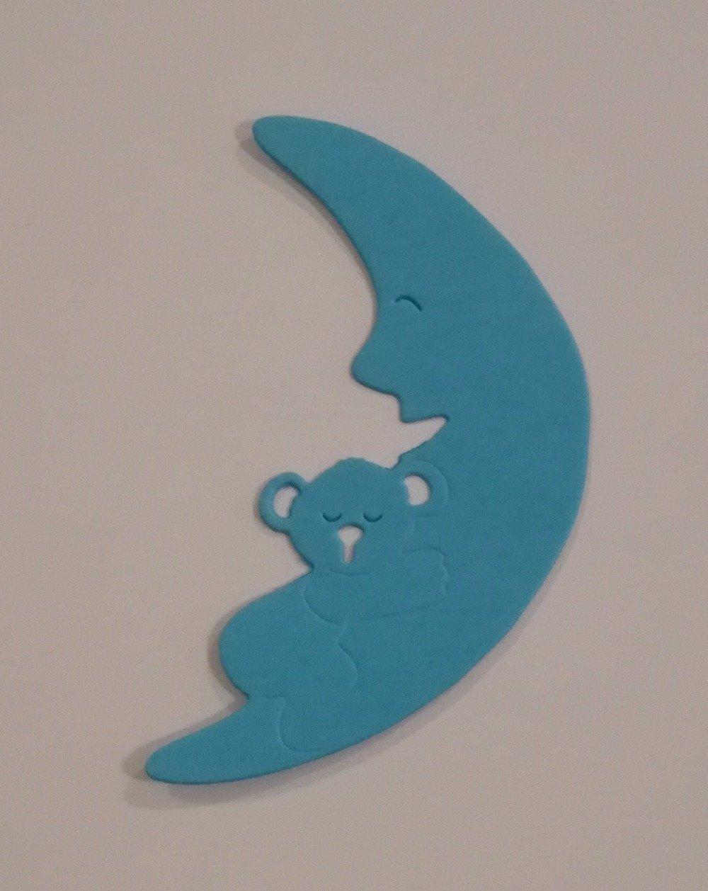 n° 268 Découpe d'un ourson dormant sur la lune en papier bleu