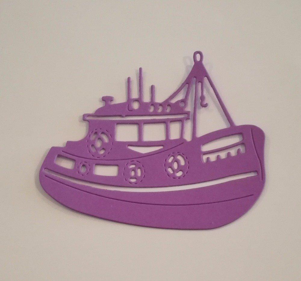 n°284 Découpe d'un bateau de pêche en papier violet