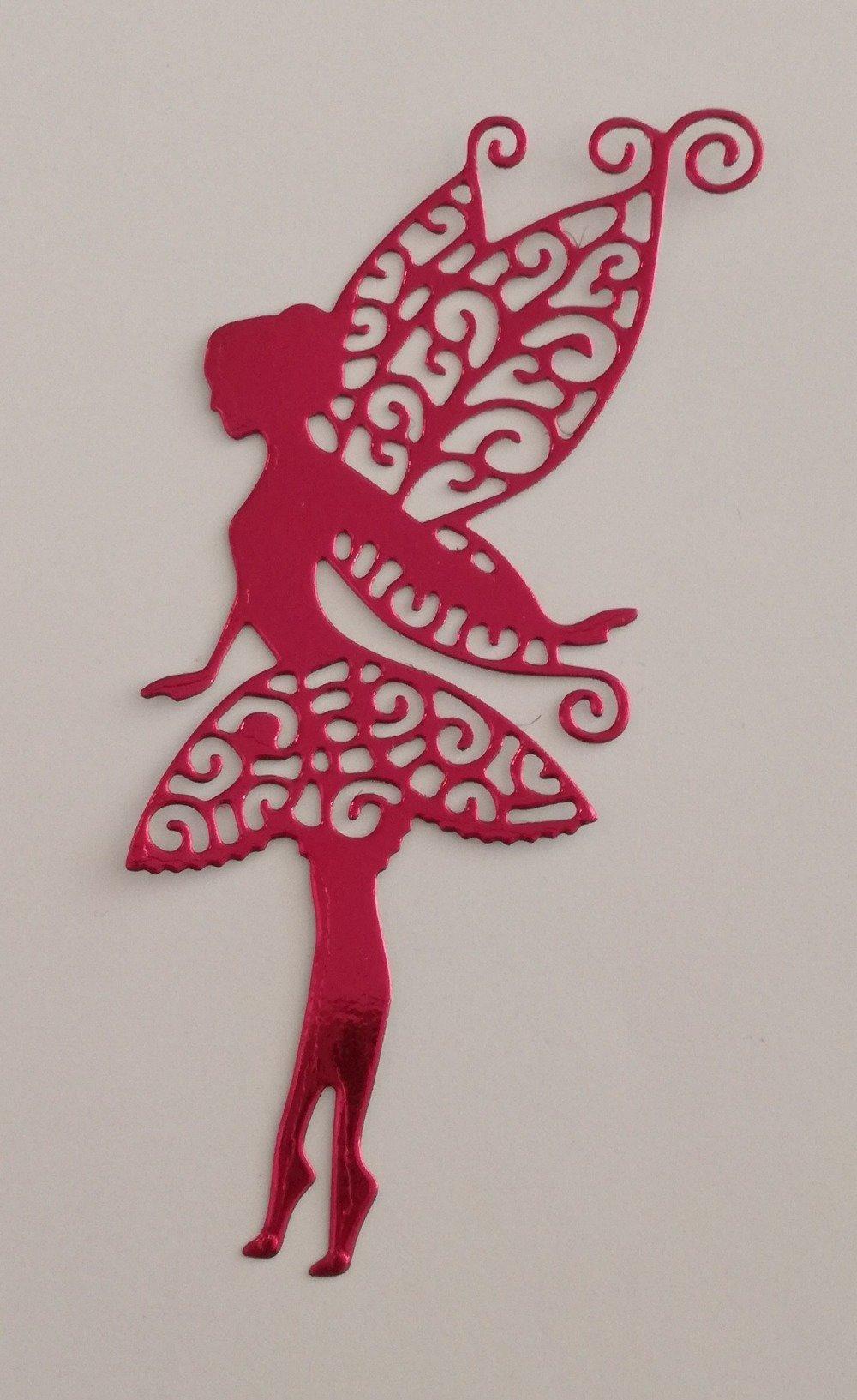 """n°133 découpe d'une """"fée papillon"""" en papier fuchsia métallisé"""