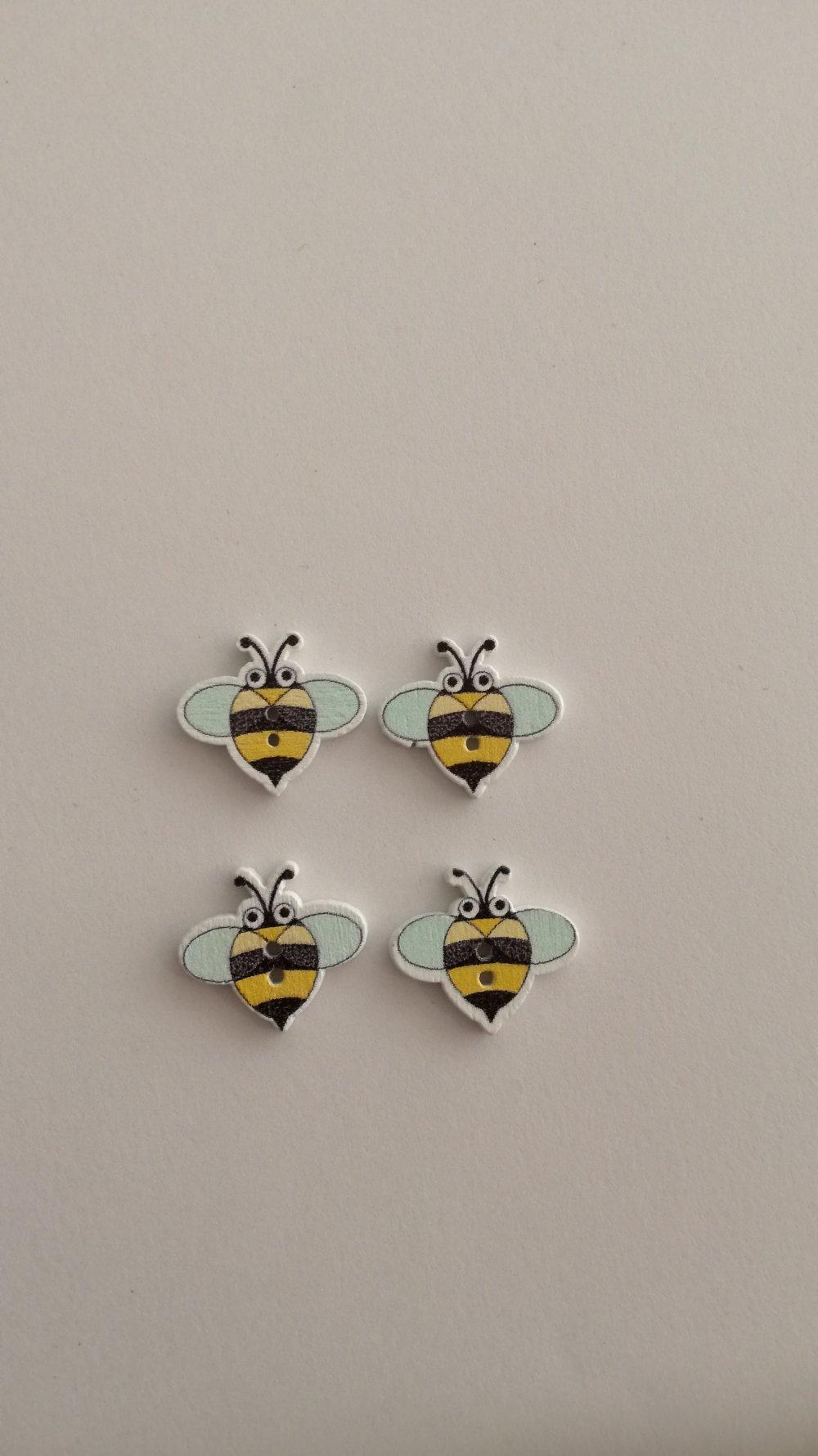 """lot de 4 boutons en bois """" abeilles """""""