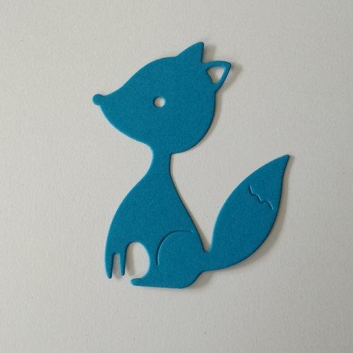 N°388 découpes d'un renard en papier bleu