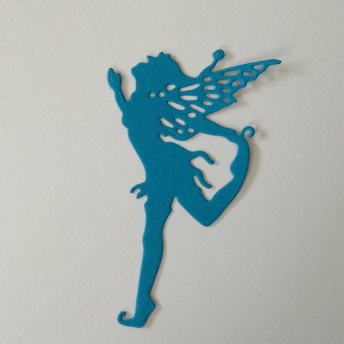 """N°376 découpe d'une fée """"5"""" en papier bleu"""