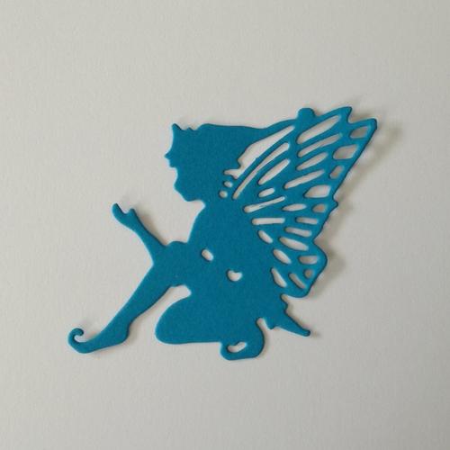 """N°377 découpe d'une fée """"6"""" en papier bleu"""