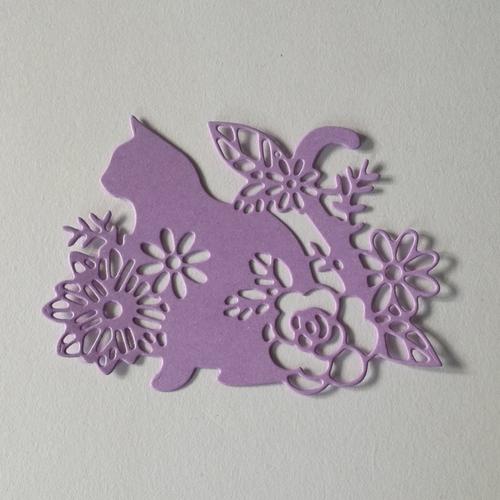 """N°391 découpes d'un chat """" fleurie """" en papier mauve"""