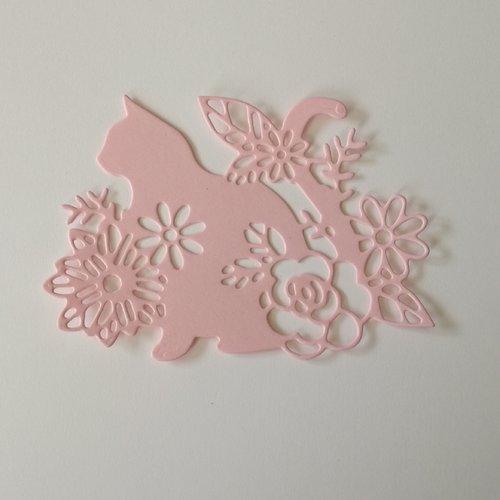 """N°391 découpes d'un chat """" fleurie """" en papier rose"""