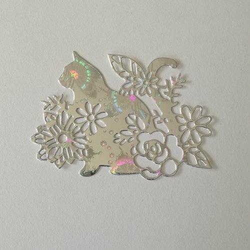 """N°391 découpes d'un chat """" fleurie """" en papier argenté holographique"""