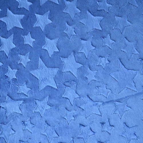Tissus minkee bleu nuit motif étoiles