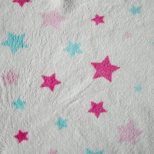 "Tissus minkee blanc motif ""etoiles rose et bleues"" - reversible"