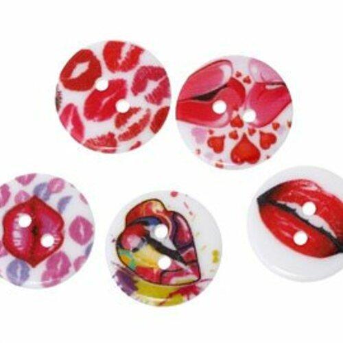 Mercerie Lot de 5 boutons carrés plastique rouge blanc Milky 20mm button