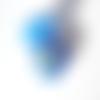Perle à gros trou style européen œil de chat bleu