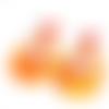 Boucles d'oreilles résine orange et rouge sur supports en acier inoxydable