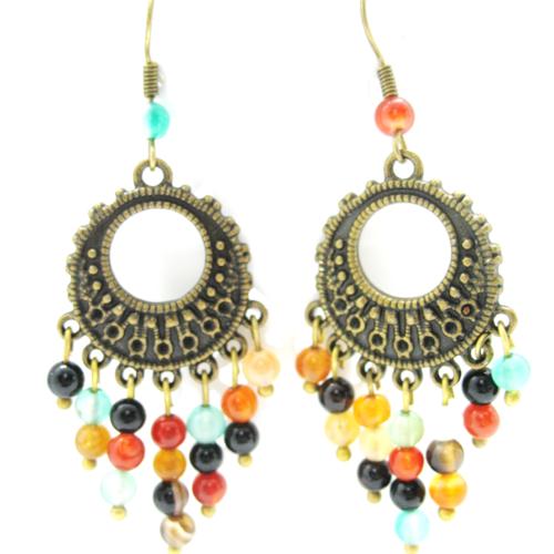 Boucles d'oreilles bohême bronze et multicolores sur supports crochets bronze
