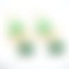 Boucles d'oreilles  dorées et vertes estampes et sequins émaillés sur supports crochets en acier inoxydable