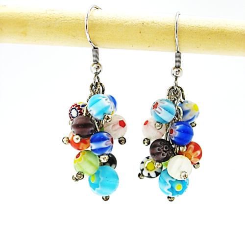 Boucles d'oreilles grappes perles millefiories multicolores  supports crochets en acier inoxydable