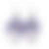 Boucles d'oreilles nœuds en cuir violet perles de porcelaine fleurie sur crochets en acier inoxydables