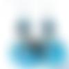 Boucles d'oreilles tagua bleu et perles en verre à la feuille d'argent sur crochets en acier inoxydable