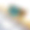Bracelet cuir beige marron et turquoise bouton  émaillé turquoise fait main fermoir magnétique