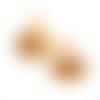 Boucles d'oreilles jaune et marron estampes acier inoxydable suédine, cabochons sur supports en acier inoxydable
