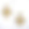 Boucles d'oreilles marron et beige estampes beiges, cabochons en résine sur supports en acier inoxydable