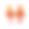 Boucles d'oreilles orange et rouge estampes dorées supports en acier inoxydable