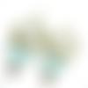 Boucles d'oreilles bohême bronze et turquoise sur supports crochets bronze