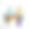 Boucles d'oreilles chandeliers sequins émaillés multicolores sur crochets en acier inoxydable