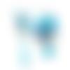 Boucles d'oreilles asymétriques agates bleues sur supports en acier inoxydable