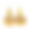 Boucles d'oreilles tagua jaune perles de jade sur crochets en acier inoxydable
