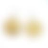 Boucles d'oreilles jaune estampe acier inoxydable suédine sur supports en acier inoxydable