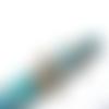 Stylo à bille turquoise avec perles turquoises et argentées